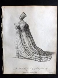 Jefferys C1760 Costume Print. Lady of Cologne in 1577 Germany
